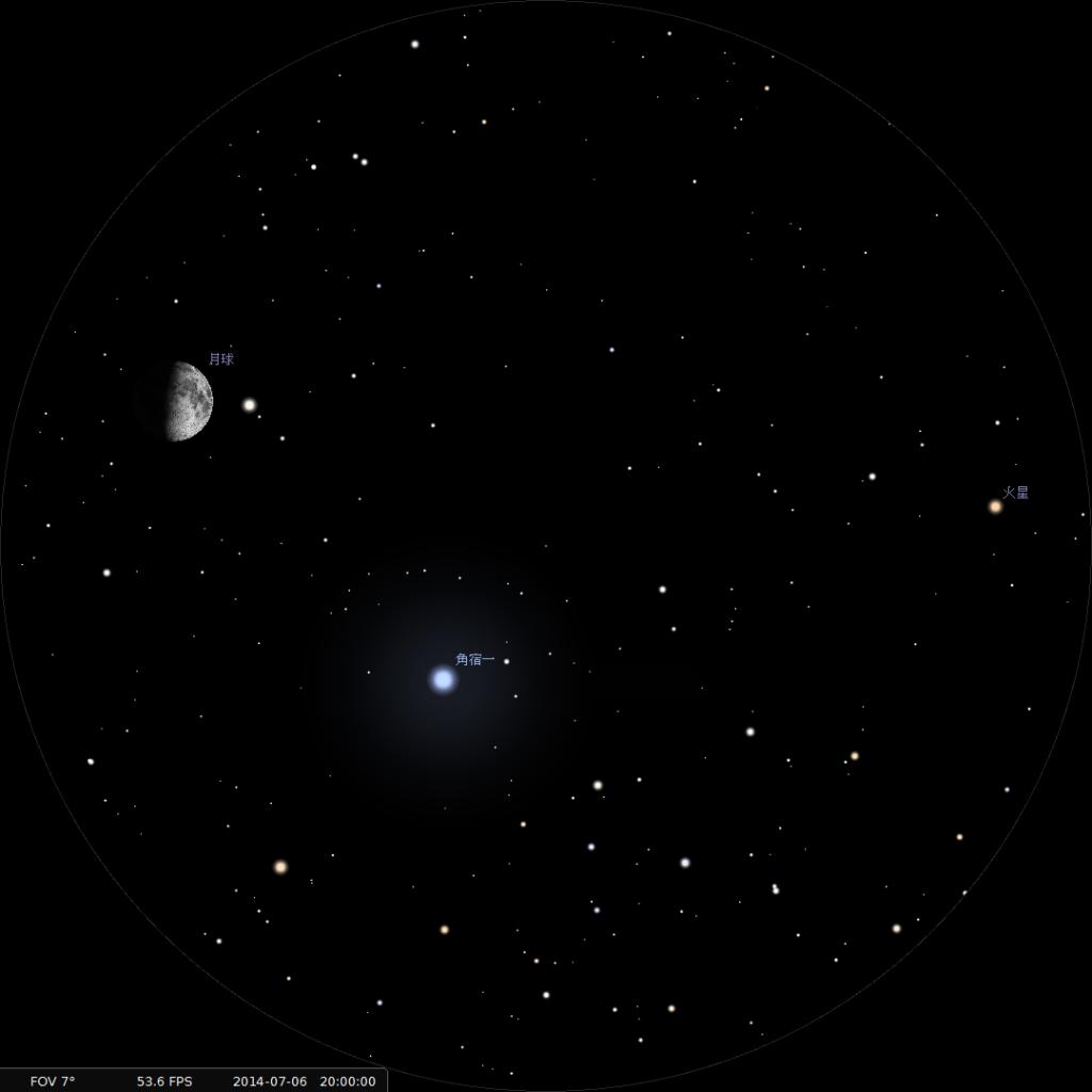 使用8x42雙筒望遠鏡觀測之模擬圖