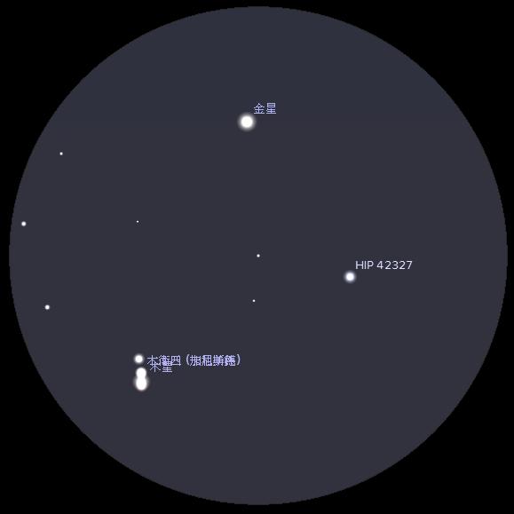 金星合木星︰使用Meade LX90 8吋折反射式天文望遠鏡及同廠4000系列26mm目鏡觀測之模擬圖 (使用開放源始碼免費星圖軟件Stellarium製作)