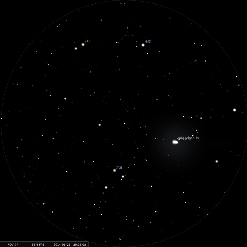 土星合火星︰使用8×42雙筒望遠鏡觀測之模擬圖(使用開放源始碼免費星圖軟件Stellarium製作)