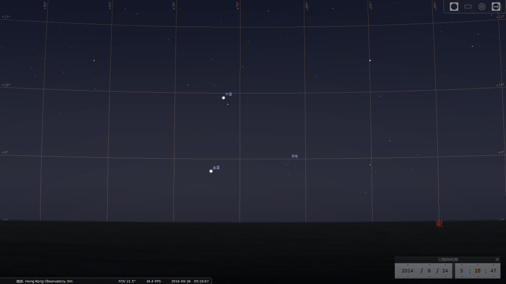 月合金星及木星 (使用開放源始碼免費星圖軟件Stellarium製作)
