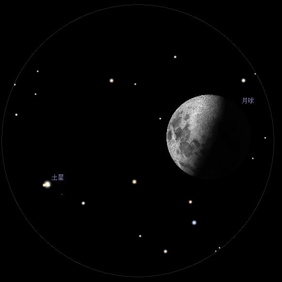 月合土星︰使用高橋FC-100DC天文望遠鏡及同廠LE系列24mm目鏡觀測之模擬圖 (使用開放源始碼免費星圖軟件Stellarium製作)