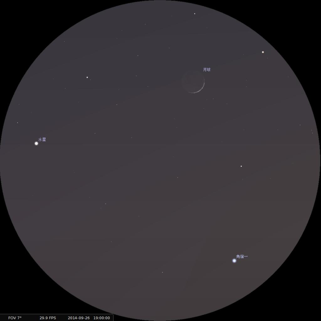 月合水星及角宿一︰使用8×42雙筒望遠鏡觀測之模擬圖