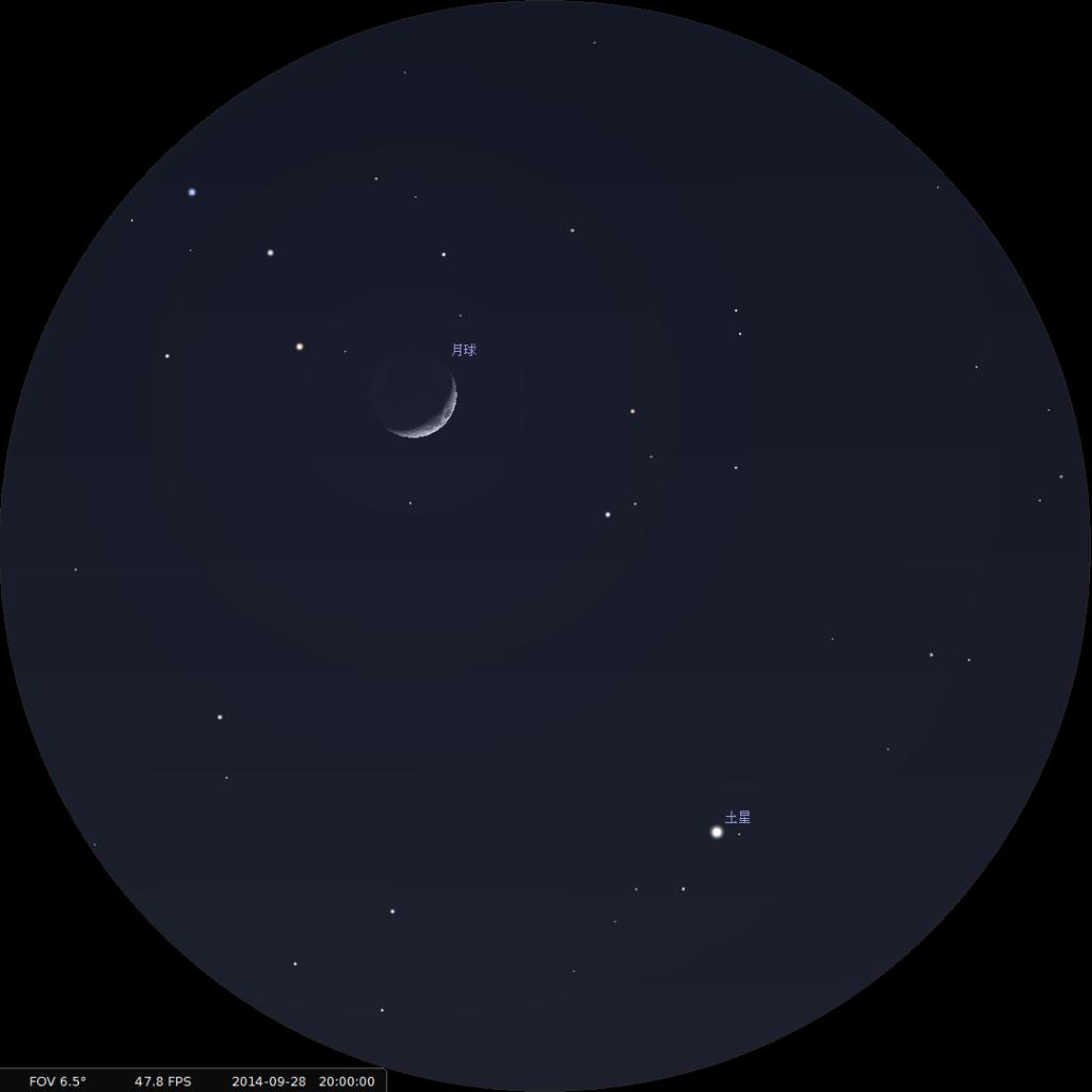 月合土星︰使用10×42雙筒望遠鏡觀測之模擬圖