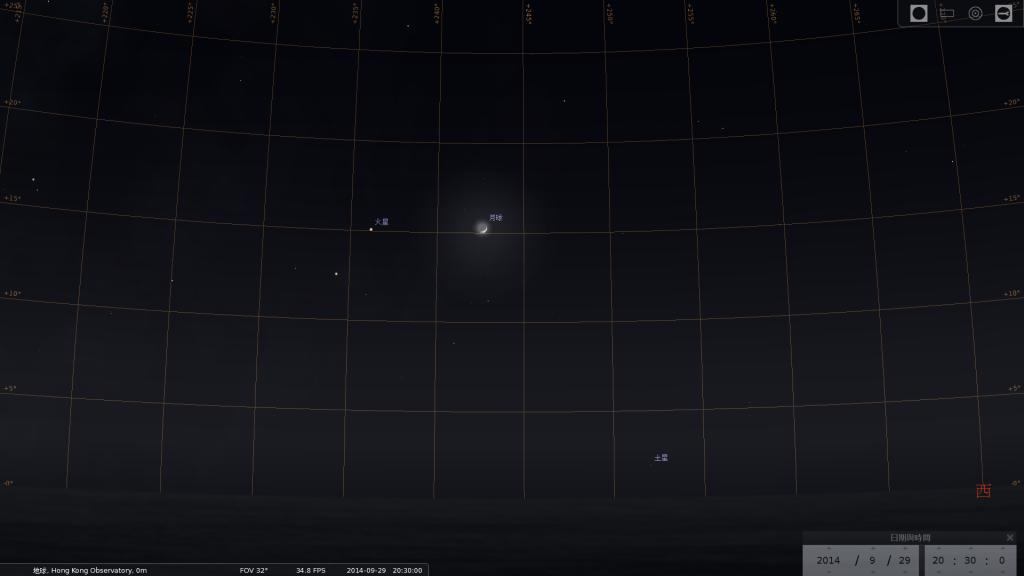 月合火星及心宿二之模擬圖