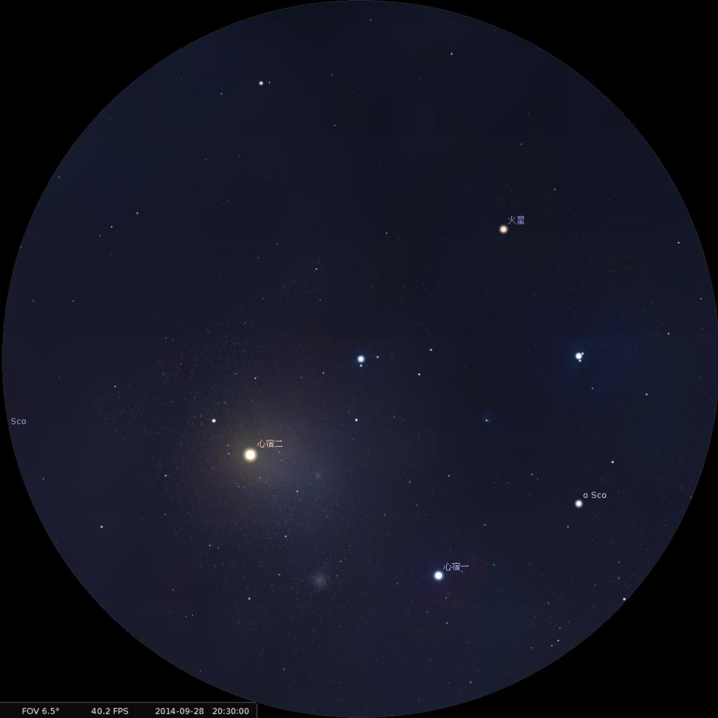 火星合心宿二︰使用10×42雙筒望遠鏡觀測之模擬圖 (使用開放源始碼免費星圖軟件Stellarium製作)