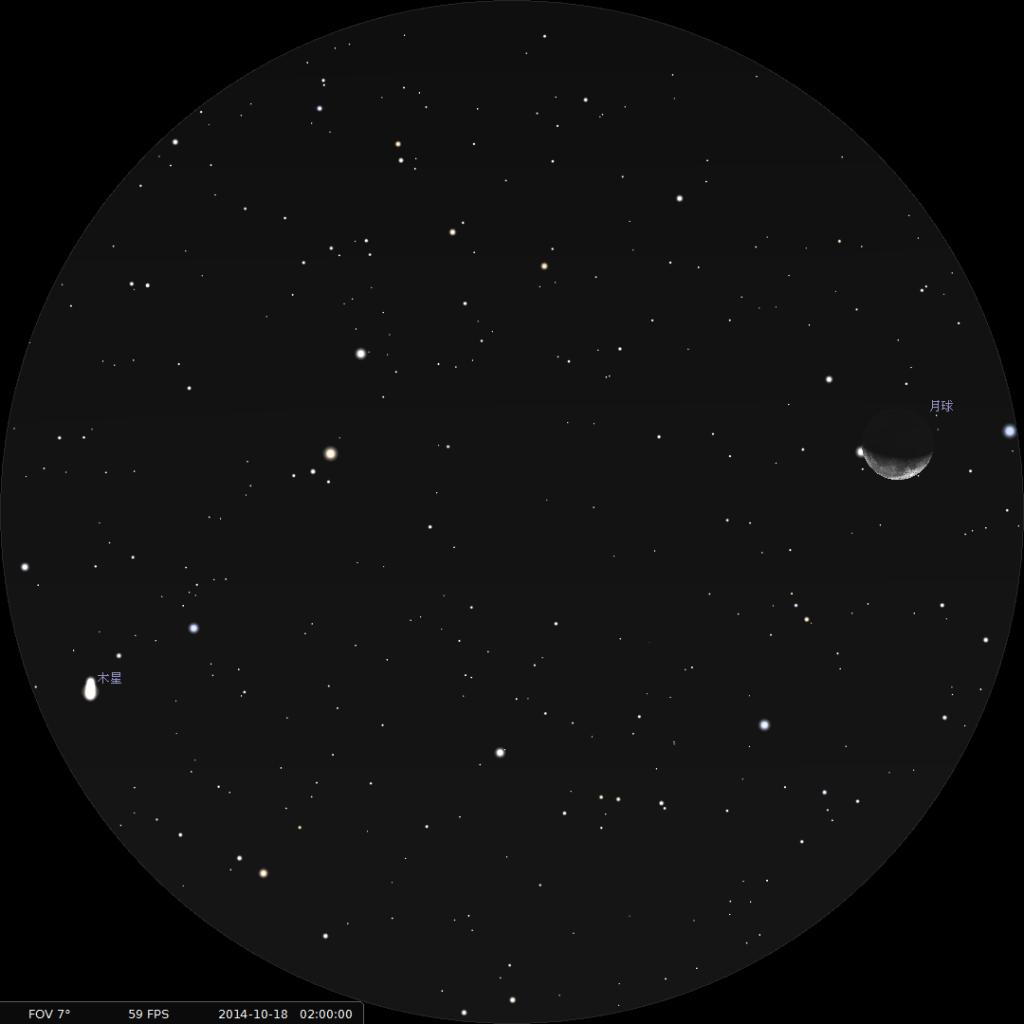 木星合月︰使用8×42雙筒望遠鏡觀測之模擬圖 (使用開放源始碼免費星圖軟件Stellarium製作)