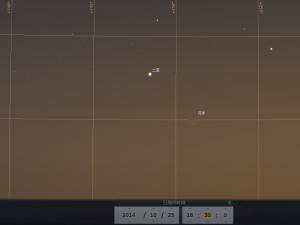 土星合月 (使用開放源始碼免費星圖軟件Stellarium製作)