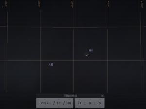 火星合月 (使用開放源始碼免費星圖軟件Stellarium製作)