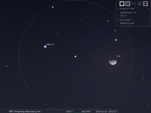 月合軒猿十四︰使用8×42雙筒望遠鏡觀測之模擬圖 (使用開放源始碼免費星圖軟件Stellarium製作)