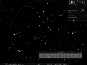 火星合月︰使用8×42雙筒望遠鏡觀測之模擬圖 (使用開放源始碼免費星圖軟件Stellarium製作)
