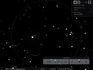 土星合月︰使用20×80雙筒望遠鏡觀測之模擬圖  (使用開放源始碼免費星圖軟件Stellarium製作)