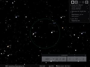 土星合月︰使用William Optics Zenith Star 71望遠鏡及Takahashi Abbe 25mm目鏡觀測之模擬圖  (使用開放源始碼免費星圖軟件Stellarium製作)