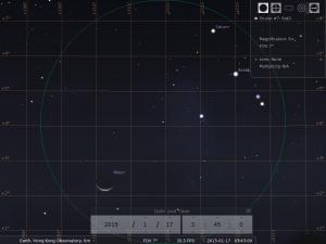 月合土星︰使用8×42雙筒望遠鏡觀測之模擬圖 (使用開放源始碼免費星圖軟件Stellarium製作)