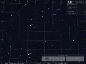 月合火星︰使用8×42雙筒望遠鏡觀測之模擬圖 (使用開放源始碼免費星圖軟件Stellarium製作)