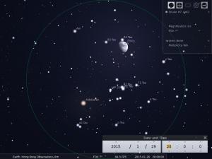 月合畢宿五︰使用8×42雙筒望遠鏡觀測之模擬圖 (使用開放源始碼免費星圖軟件Stellarium製作)