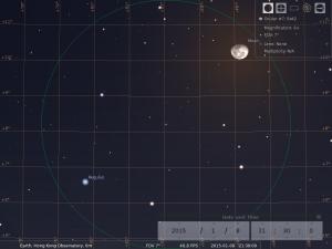 月合軒轅十四︰使用8×42雙筒望遠鏡觀測之模擬圖 (使用開放源始碼免費星圖軟件Stellarium製作)