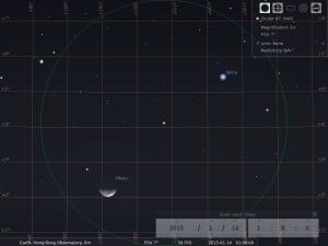 月合角宿一︰使用8×42雙筒望遠鏡觀測之模擬圖 (使用開放源始碼免費星圖軟件Stellarium製作)
