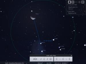 使用8×42雙筒望遠鏡觀測之模擬圖 (使用開放源始碼免費星圖軟件Stellarium製作)