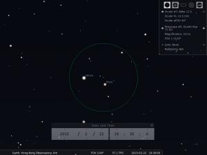 使用William Optics Zenith Star 71折射式望遠鏡,Takahashi Abbe 12.5mm目鏡及正像棱鏡觀測之模擬圖 (使用開放源始碼免費星圖軟件Stellarium製作)