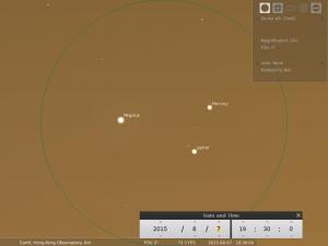 使用20×80雙筒望遠鏡觀測之模擬圖 (使用開放源始碼免費星圖軟件Stellarium製作)