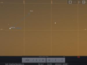 模擬圖 (使用開放源始碼免費星圖軟件Stellarium製作)