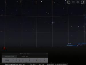 2016.02.04 模擬圖 (使用開放源始碼免費星圖軟件Stellarium製作)