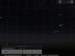 2016.02.06 模擬圖 (使用開放源始碼免費星圖軟件Stellarium製作)