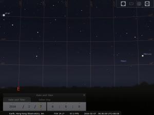 2016.02.07 模擬圖 (使用開放源始碼免費星圖軟件Stellarium製作)