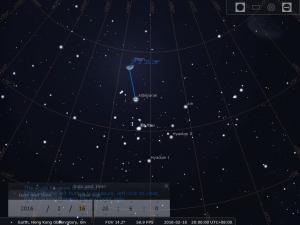 2016.02.16 模擬圖 (使用開放源始碼免費星圖軟件Stellarium製作)