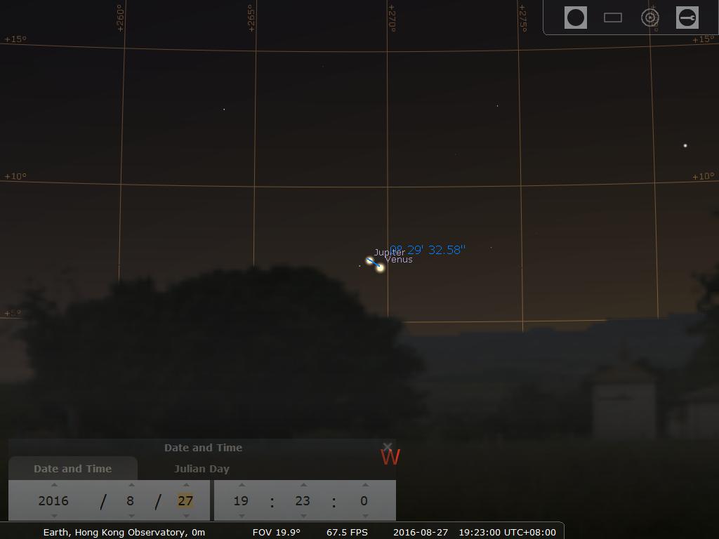 27日 19:23時之模擬圖 (使用開放源始碼免費星圖軟件Stellarium製作)