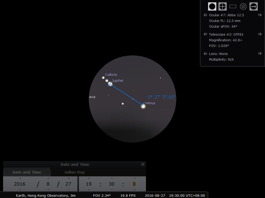 27日 19:30時之模擬圖 (使用開放源始碼免費星圖軟件Stellarium製作) 望遠鏡︰William Optics GTF-81 / 目鏡︰Takahashi Abbe 12.5mm
