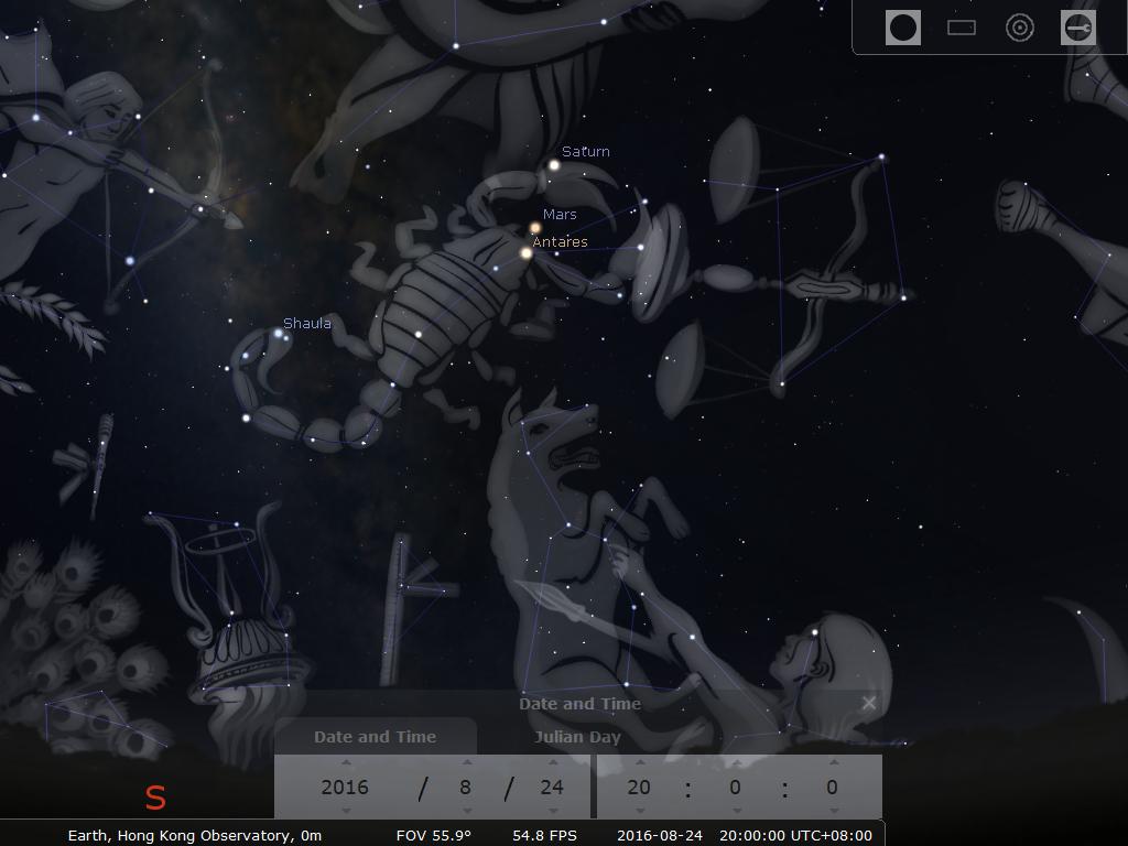 20:00時之模擬圖 (使用開放源始碼免費星圖軟件Stellarium製作)