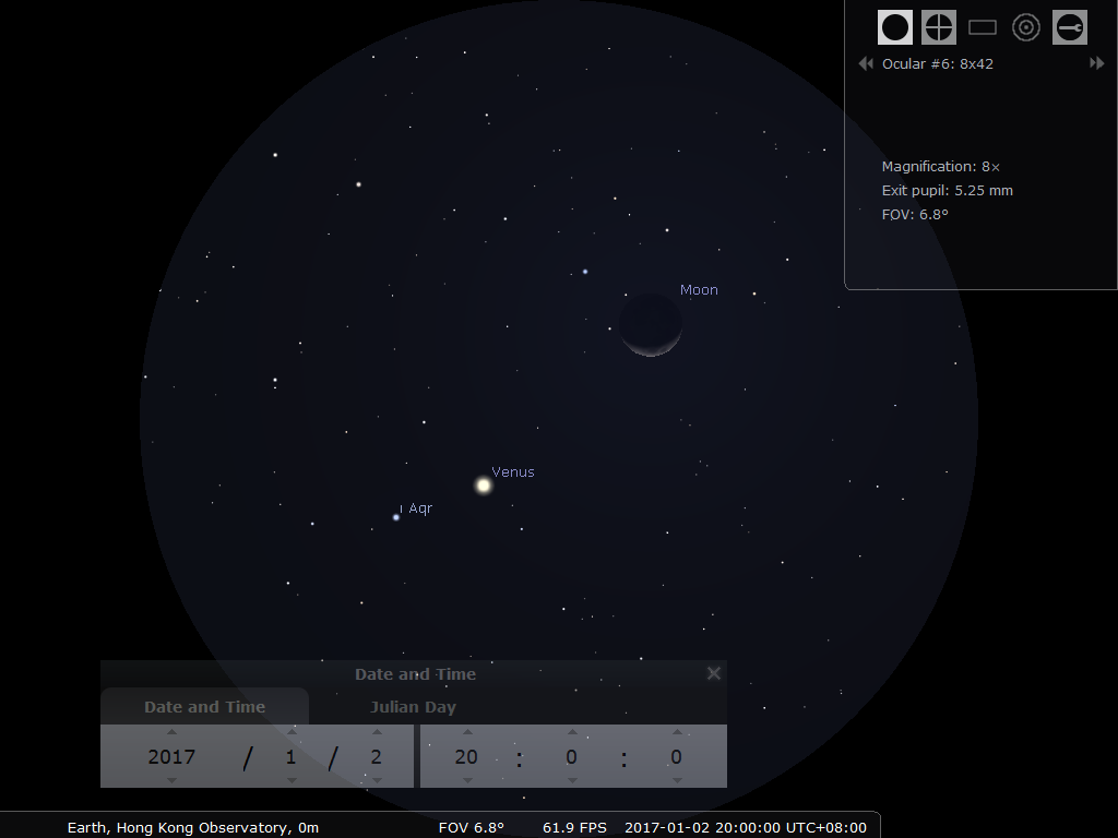 使用8×42雙筒望遠鏡之模擬圖(使用開放源始碼免費星圖軟件Stellarium製作)