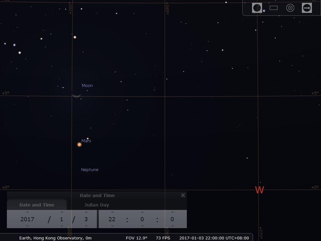模擬圖(使用開放源始碼免費星圖軟件Stellarium製作)